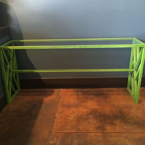 Hollywood Regency Green Metal Console/Sofa Table - Image 3 of 5