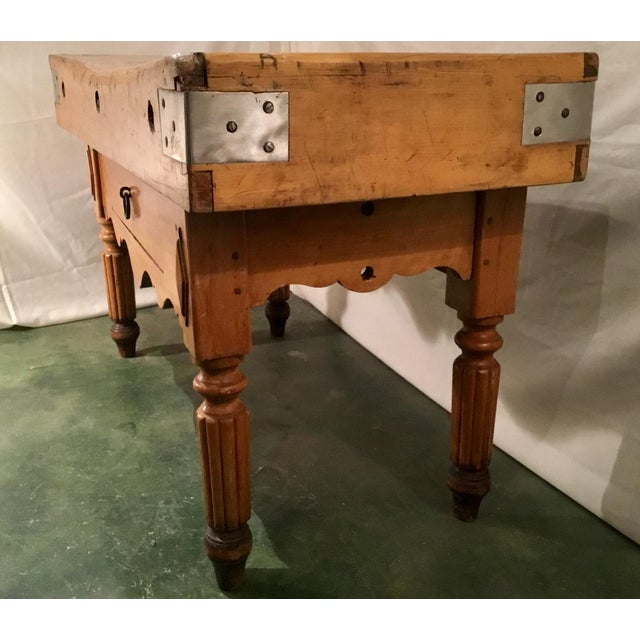 French 19th C. French Carved Butcher Block Table For Sale - Image 3 of 13