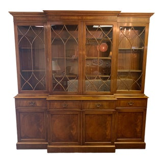 Trosby of Sussex Inlaid Breakfront Bookcase For Sale