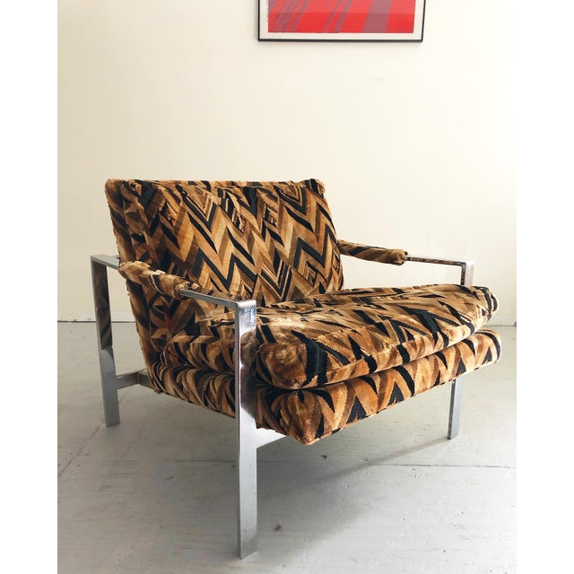Metal Mid Century Modern Milo Baughman Lounge Chair For Sale - Image 7 of 7
