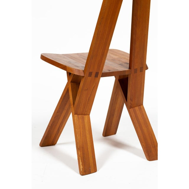 Four Chairs by Pierre Chapo S45 in Solid Elm For Sale - Image 6 of 12