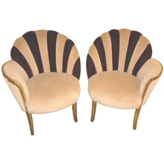 High Style Art Deco Fan Backed Side Chairs For Sale