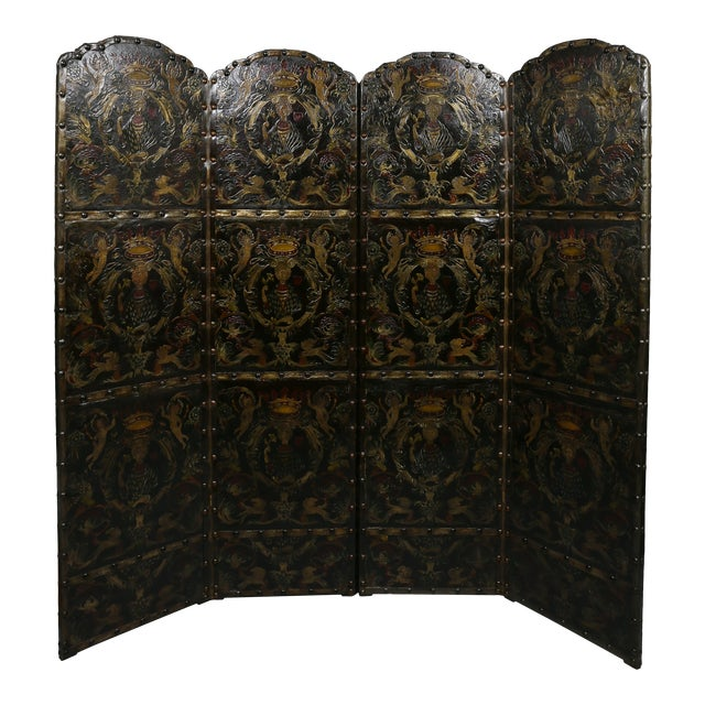 European Embossed Leather Four-Panel Screen For Sale