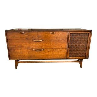 Mid Century Modern Lane Perception Compact Sideboard Buffet Credenza - Danish Style Walnut Woven Door Lowboy Dresser Sculpted Handles
