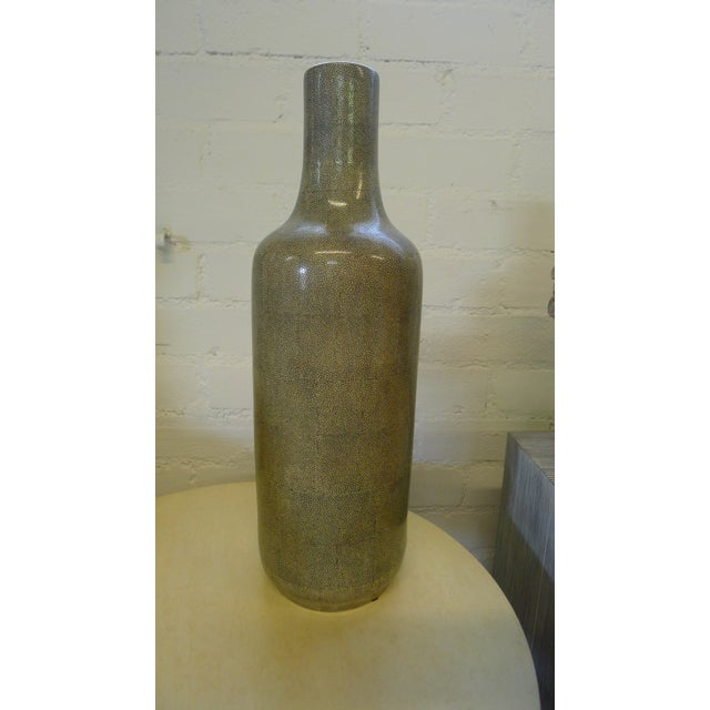 Modern Shagreen Texture Modern Chinese Vase For Sale - Image 3 of 10