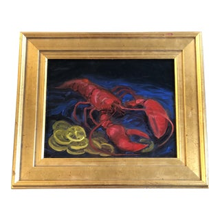 Original Contemporary Alexandra Brown Modernist Lobster With Lemons Oil Painting Framed For Sale