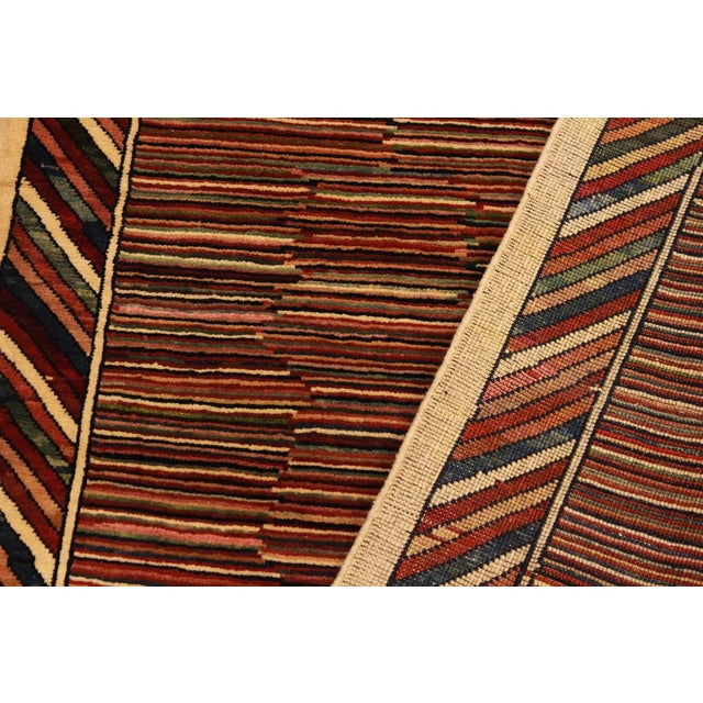 Textile Shabby Chic Gabbeh Peshawar Georgian Blue/Red Hand-Knotted Wool Rug -3'3 X 4'9 For Sale - Image 7 of 8