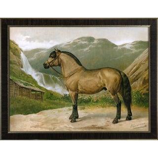 Norwegian Horse by Eerelman Framed in Italian Wood Vener Moulding For Sale