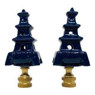 Navy Blue Porcelain Pagoda Chinoiserie Lamp Finials - a Pair For Sale