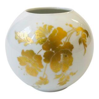 Vintage Porcelain Kaiser Cherubin German Floral Sphere Vase For Sale