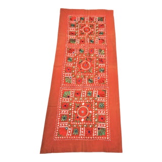 Vintage Orange Embroidered Indian Tapestry Table Runner in the Banjara Style