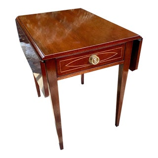 1940s Hepplewhite Style Inlaid Side Table For Sale