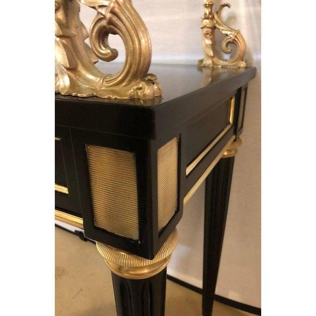 Gold Ebony and Bronze Mounted Hollywood Regency Serving Cart or Étagère Jansen For Sale - Image 8 of 13
