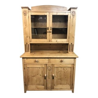 Vintage Style Two-Piece Oak Hutch For Sale