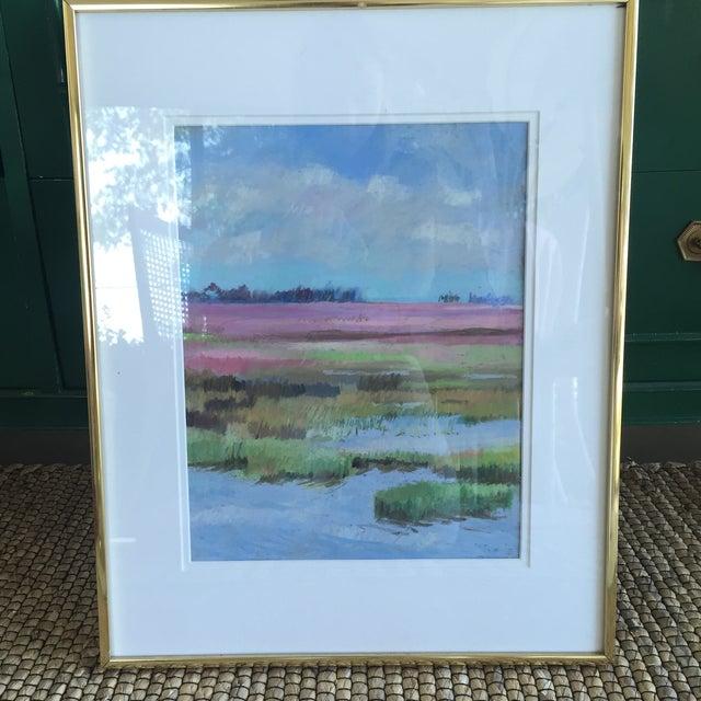 Original Abstract Coastal Marsh Seascape Pastel Framed Art | Chairish