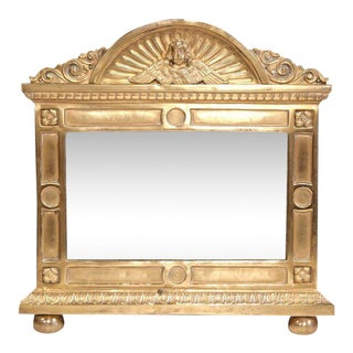 19th Century French Brass Repousse Cherub Wall Mirror For Sale