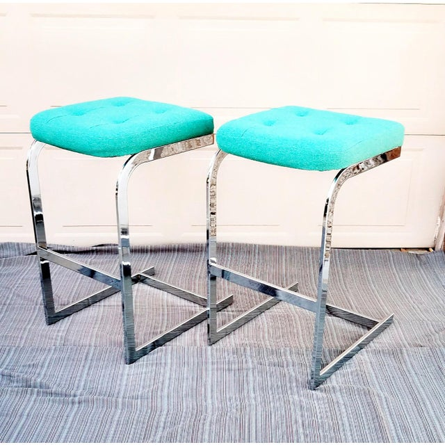 1970s Mid-Century Modern Design Institute America Cantilevered Chrome Barstools - a Pair For Sale In Phoenix - Image 6 of 6