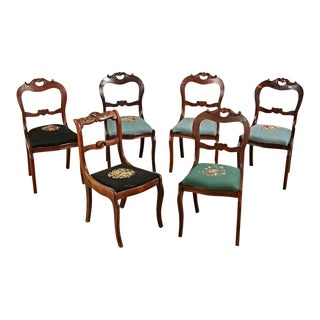 Antique Victorian Needlepoint Upholstered Chairs - Set of 6 For Sale