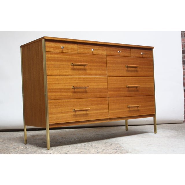 Mid-Century Modern Paul McCobb Mahogany and Brass 6000 Series Directional Cabinet For Sale - Image 3 of 13