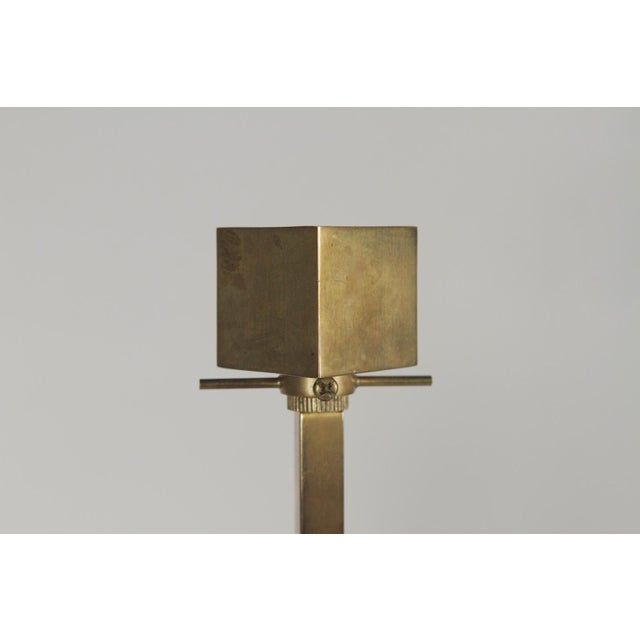 """Pair of Mid-Century Modern Brass table Lamps Dimensions 11""""W X 11""""D X 27""""H"""