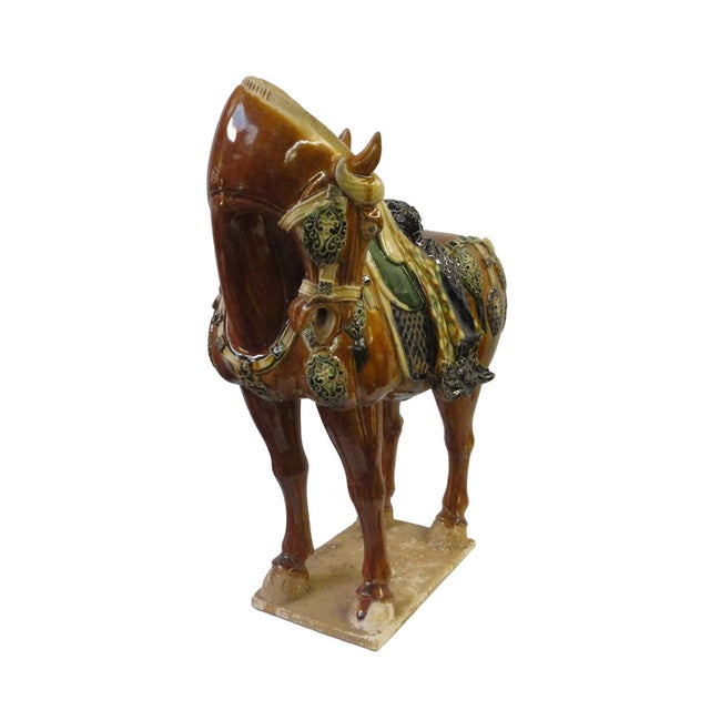 Chinese Porcelain Battle Horse Statue Figurine - Image 2 of 5