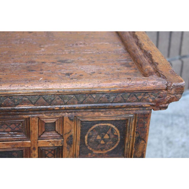 Early 18th Century A Rustic Swiss Baroque Coffer or Dowry Chest For Sale - Image 5 of 7