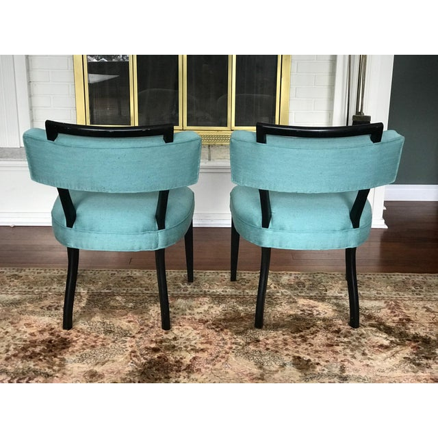 Asian Modern Black Lacquer and Teal Accent Chairs - A Pair For Sale - Image 3 of 13