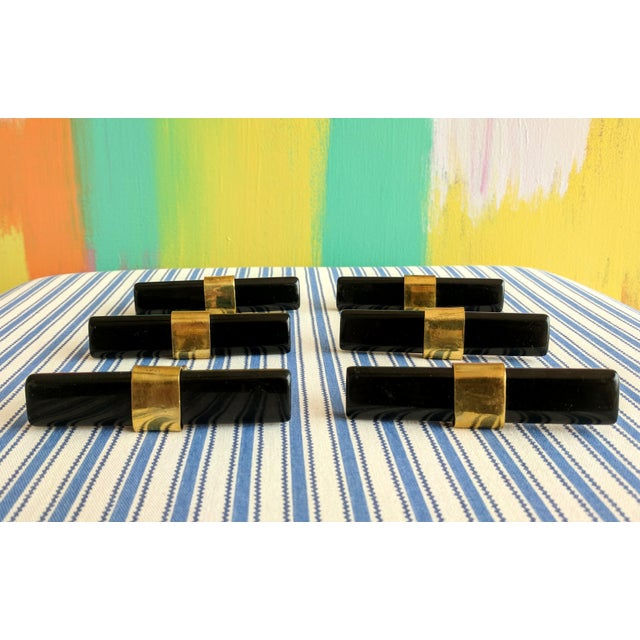 Set of 6- Black and Brass Modern Drawer Pulls For Sale - Image 9 of 9