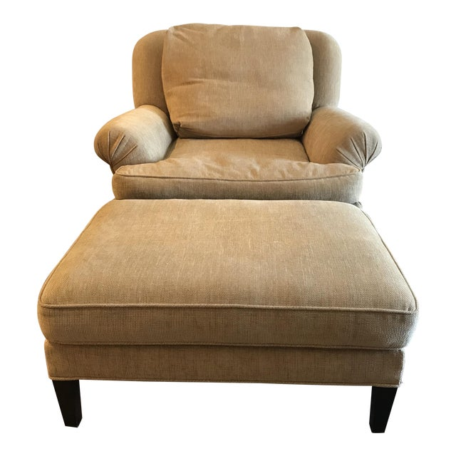 1990s Pearson Club Chair and Ottoman Restyled in Ralph Lauren Khaki Fabric For Sale