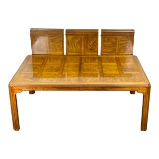Vintage Drexel Heritage Sketchbook Collection Banded Burlwood Parquetry Dining Table For Sale