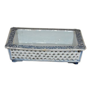 Chinese Blue & White Reticulated Honey Comb Bulb/Narcissus Dish For Sale