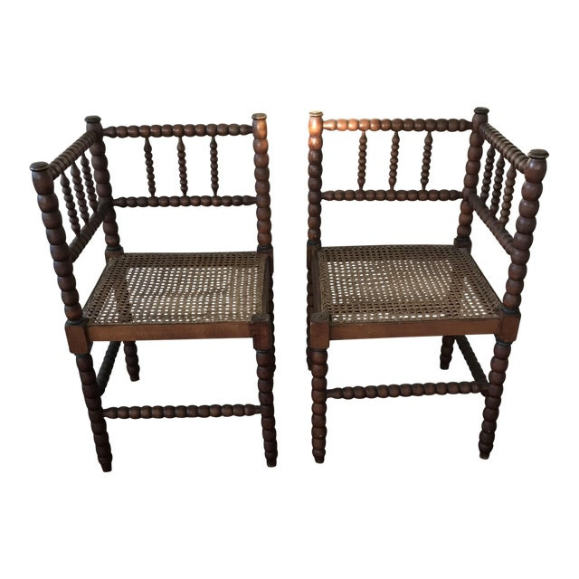 Antique Barley Twist Corner Chairs - A Pair - Image 1 of 5 - Antique Barley Twist Corner Chairs - A Pair Chairish
