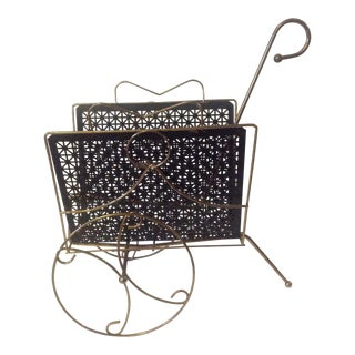 Mid Century Modern Mesh Magazine Basket Decor For Sale