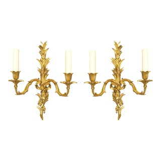 French Louis XV Style 20th Century Gilt Bronze Two-Arm Wall Sconces - a Pair For Sale