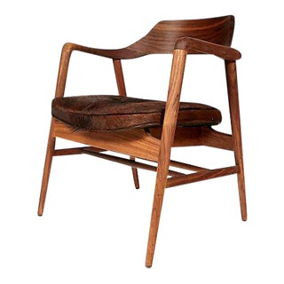Walnut Side Chair with Cowhide Seat