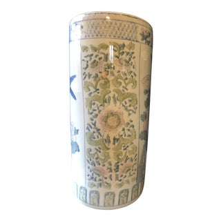 Asian Pastel Floral Umbrella Stand For Sale