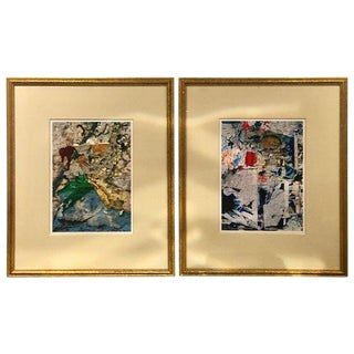 Pair of Abstract Water Colors Signed and Dated Wall Art For Sale