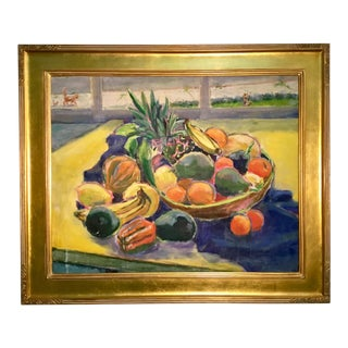 Traditional Fruit Still Life With Cats in Gilt Frame For Sale