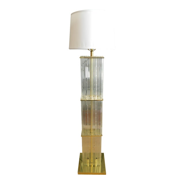 Vintage Glass Rods Brass Floor Lamp For Sale