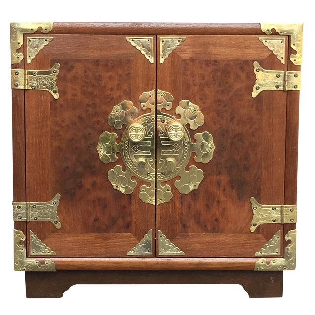 Vintage Chinoiserie Wood & Brass Jewelry Box - Image 1 of 6