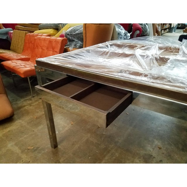Black 1970's Signed Willy Rizzo Gaming Table & Chairs For Sale - Image 8 of 13