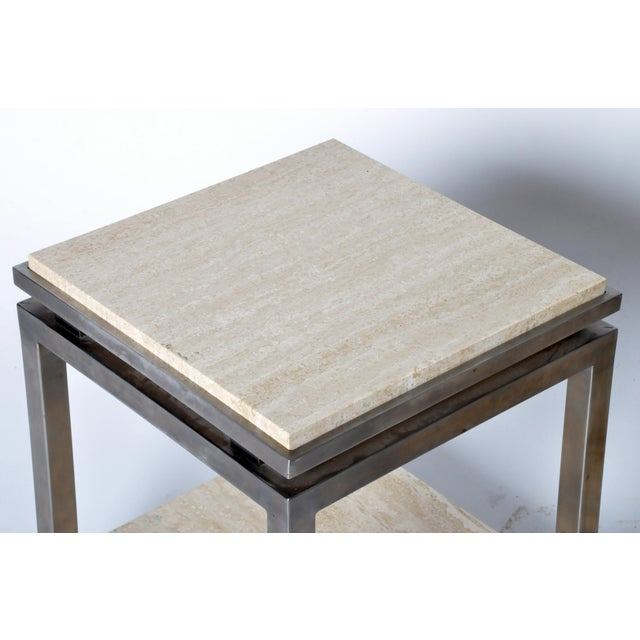 Pair of Two-Tier Travertine Side Tables in the Style of Guy Lefevre For Maison Jansen For Sale - Image 9 of 11