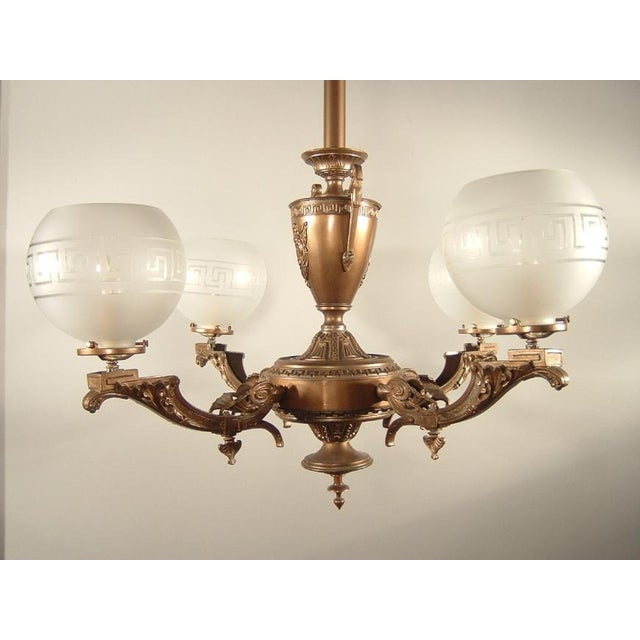 Late 19th Century Renaissance Spelter Gas Fixture (4-Light) For Sale - Image 5 of 8