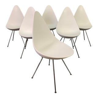 "Vintage Mid Century Danish Modern ""Drop"" Dining Chairs by Arne Jacobsen for Fritz Hansen For Sale"