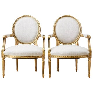 Pair of Louis XVI Style Giltwood Linen Fauteuil Armchairs For Sale