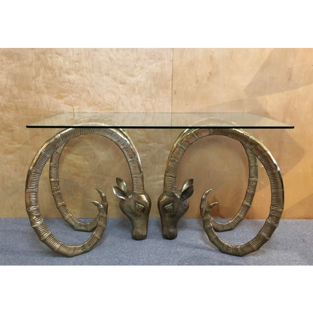 20th Century Hollywood Regency Ibex Rams Head Console Table For Sale - Image 9 of 9
