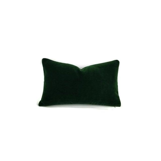 Pierre Frey Bold Mohair Velvet in Forest - Dark Emerald Green Mohair Velvet Lumbar Pillow For Sale In Portland, OR - Image 6 of 6