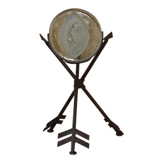 Kokopelli Glass Medallion on 3 Iron Crossed Arrows Candle Holder For Sale