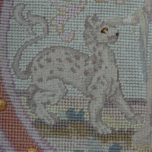 Farmhouse Lathe 19th Century Wool Needlepoint Panel With Lady and Cheetah For Sale - Image 3 of 13