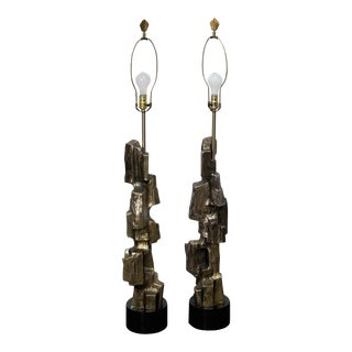 Maurizio Tempestini for Laurel Brutalist Lamps - A Pair For Sale